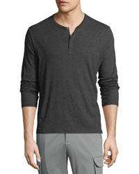 ATM Anthony Thomas Melillo Atm Classic Long Sleeve Henley Shirt Charcoal