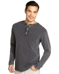 3rd & Army Charcoal Microcheck Cotton Elbow Patch Henley