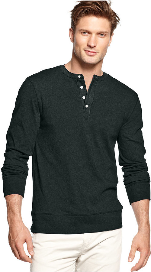 Charcoal henley sweater club room solid henley shirt for Where to buy a dress shirt