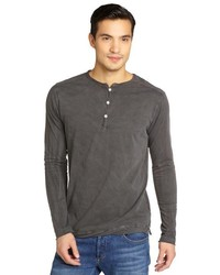 Second Sunday Faded Charcoal Cotton Henley
