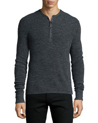 rag & bone Garrett Long Sleeve Henley Shirt Charcoal