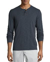 Theory Gaskell Coasting Long Sleeve Henley Shirt Charcoal
