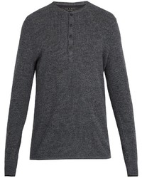 rag & bone Giles Ribbed Knit Wool Henley Top