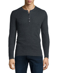 Majestic Paris For Neiman Marcus Cottoncashmere Long Sleeve Henley Shirt Charcoal