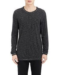 Barneys New York Mlange Slub Henley Black Size S