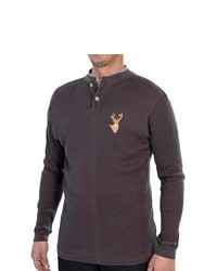 Specially made Dual Neck Thermal Henley Shirt Long Sleeve Charcoalgrey