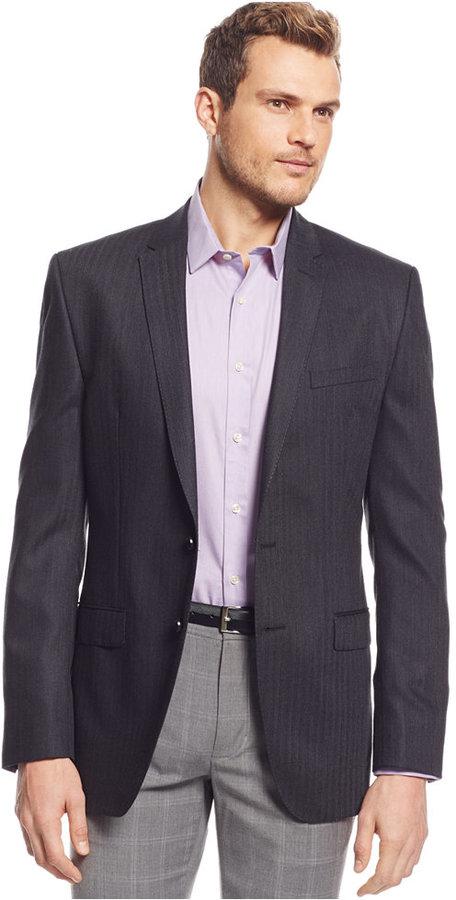 DKNY Charcoal Herringbone Sport Coat | Where to buy & how to wear