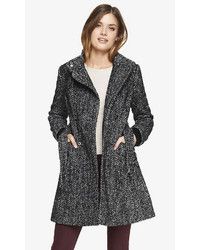 Express Herringbone Fit And Flare Coat