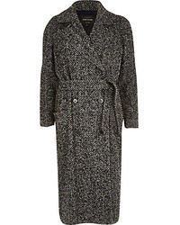 River Island Grey Herringbone Tweed Long Coat