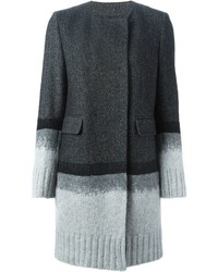 Knitted panel herringbone coat medium 437374