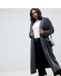 Glamorous Curve Longline Coat In Herringbone