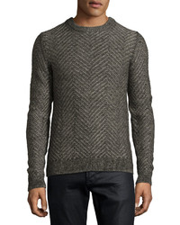 Billy Reid Herringbone Knit Crewneck Pullover Sweater Charcoal