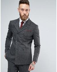 Asos Skinny Double Breasted Suit Jacket In Herringbone