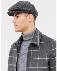 Burton Menswear Baker Boy Hat In Grey Herringbone