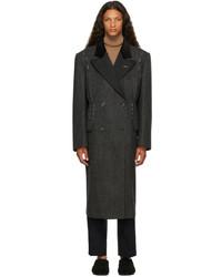 Maison Margiela Grey Wool Herringbone Coat
