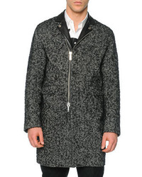 DSQUARED2 Herringbone Topcoat With Leather Accents Black