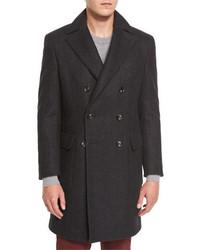 Neiman Marcus Herringbone Cashmere Double Breasted Coat