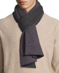 Goodmans herringbone knit cashmere scarf charcoal medium 388694