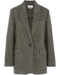 Toile isabel marant halden herringbone wool tweed blazer gray medium 696912