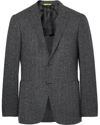 Charcoal Herringbone Wool Blazer