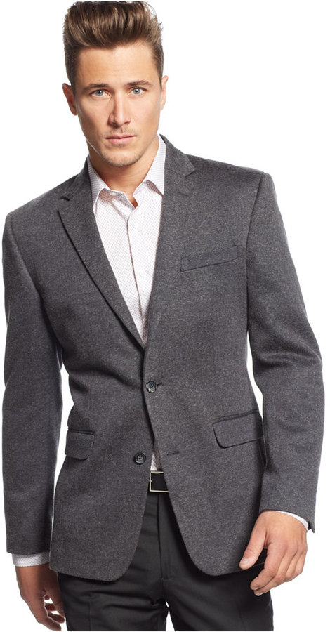 Bar Iii Charcoal Herringbone Knit Slim Fit Sport Coat | Where to ...