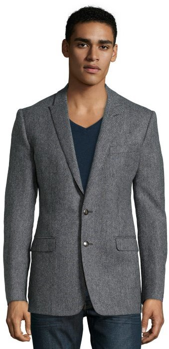 save off f947a e8828 ... Dolce   Gabbana Grey Herringbone Wool Martini 2 Button Blazer