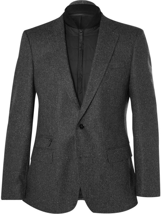 9893d6413 ... Hugo Boss Grey Slim Fit Herringbone Virgin Wool Blend Blazer With  Detachable Gilet Insert ...