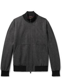Ermenegildo Zegna Herringbone Wool And Cashmere Blend Bomber Jacket