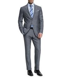 Ermenegildo Zegna Milano Easy Herringbone Two Piece Suit Gray