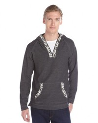 3rd & Army Charcoal And Ivory Barb Wire Detail Dawson Long Sleeve Hoodie