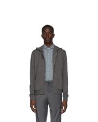 Z Zegna Grey Jersey Zipped Hoodie