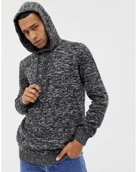 YOURTURN Knitted Hoodie In Dark Grey With Buttons