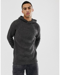 YOURTURN Knitted Jumper In Dark Grey With Hood