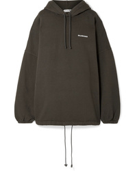 Balenciaga Oversized Embroidered Cotton Blend Fleece Hoodie
