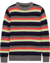 The Elder Statesman Striped Cashmere Sweater Gray