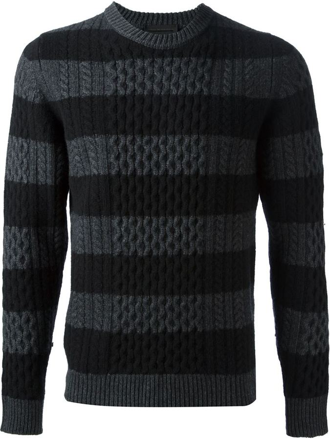 ... Diesel Black Gold Striped Cable Knit Sweater 4e5c4ceb0