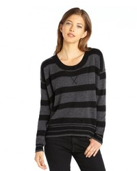 Wyatt Charcoal And Black Stripe Cashmere Sweater