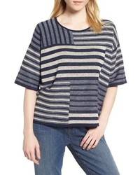 Eileen Fisher Mixed Stripe Organic Linen Top