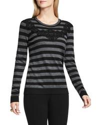Vince Camuto Lace Trim Stripe Sweater