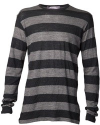 Charcoal Horizontal Striped Long Sleeve T-Shirt