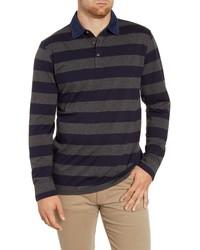 Peter Millar Crown Fleece Regular Fit Stripe Rugby Shirt