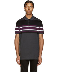 Charcoal Horizontal Striped Polo