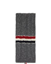 Thom Browne Grey Aran Tweed Funmix Rwb Stripe Scarf