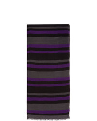 Ps By Paul Smith Purple And Grey Stripe Scarf
