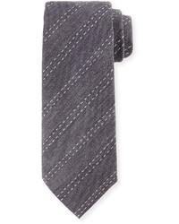Armani Collezioni Stitched Stripe Silk Tie Gray