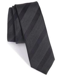 BOSS Stripe Silk Wool Skinny Tie