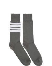 Thom Browne Grey Mid Calf 4 Bar Socks