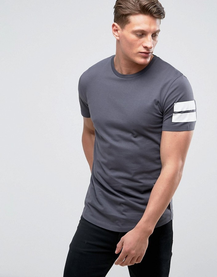 torta persuadere Intarsio  Jack and Jones Jack Jones Core Longline T Shirt With Curved Hem And Arm  Stripes, $19 | Asos | Lookastic