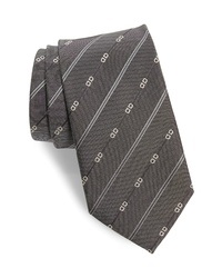 Salvatore Ferragamo Gancini Stripe Silk Tie