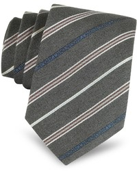Moschino Narrow Woven Silk Striped Tie